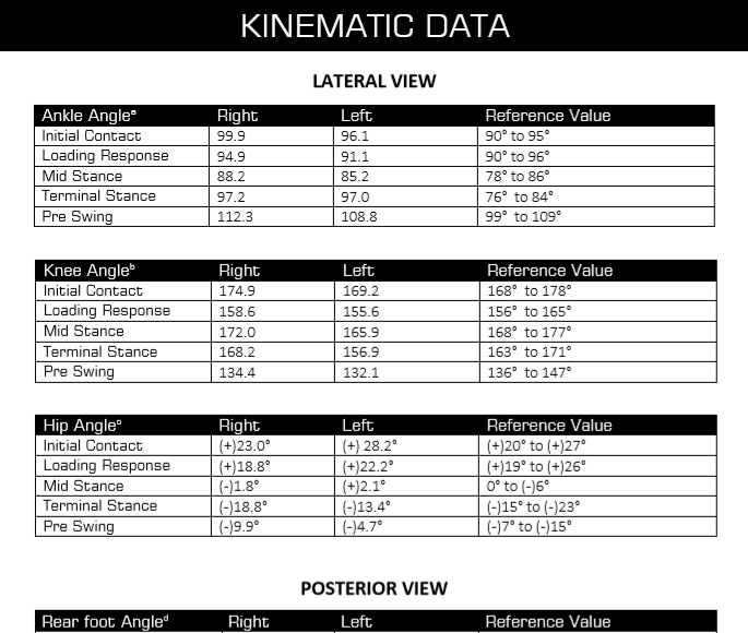 Gait Analysis Kinematic data