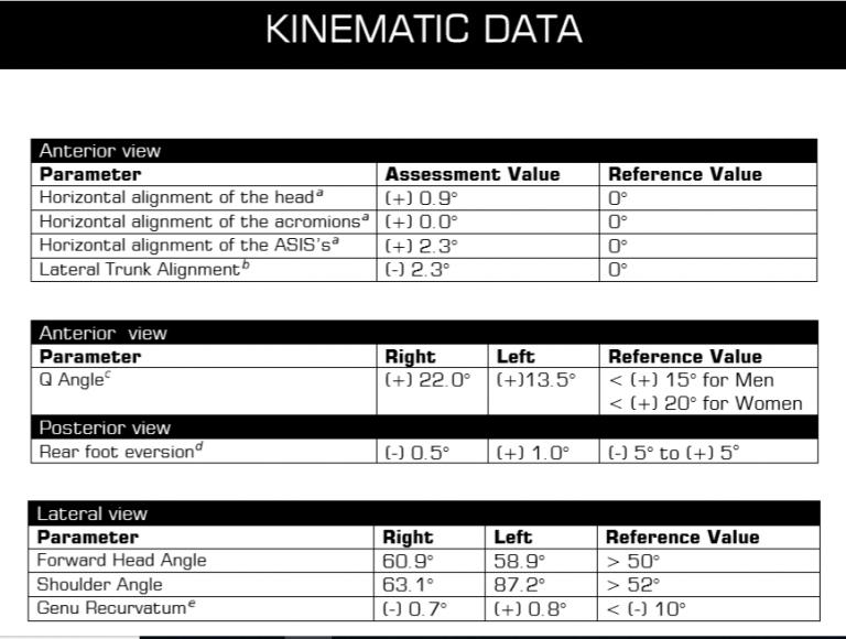 Posture Analysis posture parameters